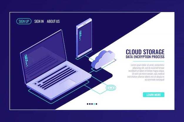 Sistema di archiviazione di file cloid, laptop con smartphone, caricamento di dati su server room remoto
