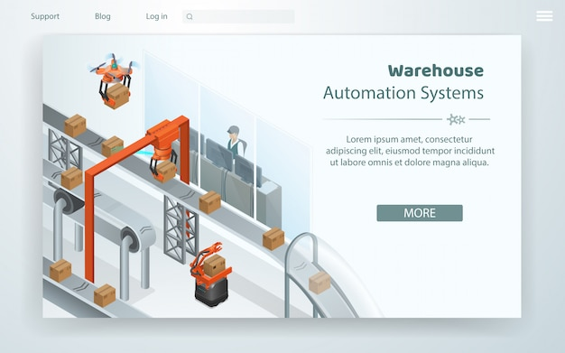 Sistema di automazione di warehouse flat web cartoon.