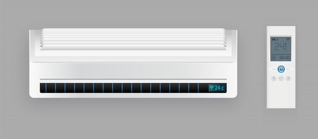 Sistema di climatizzazione con telecomando. blocco di raffreddamento e riscaldamento del condizionatore. modello di attrezzatura di tecnologia elettronica di clima.