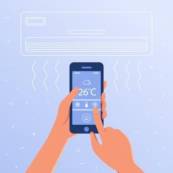 Sistema di climatizzazione intelligente come concetto di casa intelligente.