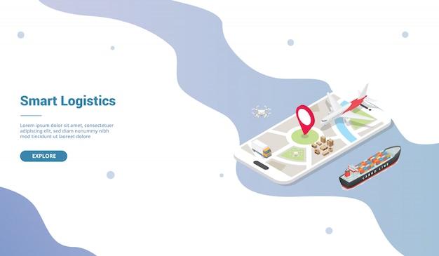 Sistema di consegna logistico intelligente per modello di sito web o homepage di atterraggio con stile isometrico