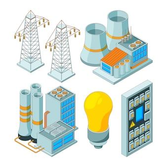 Sistema di energia elettrica. generatori di illuminazione di potenza che salvano le illustrazioni isometriche degli strumenti della luce elettrica