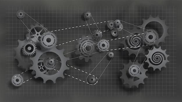 Sistema di ingranaggi e ingranaggi che lavorano con catena. ingranaggi e ingranaggi neri scuri sulla lavagna
