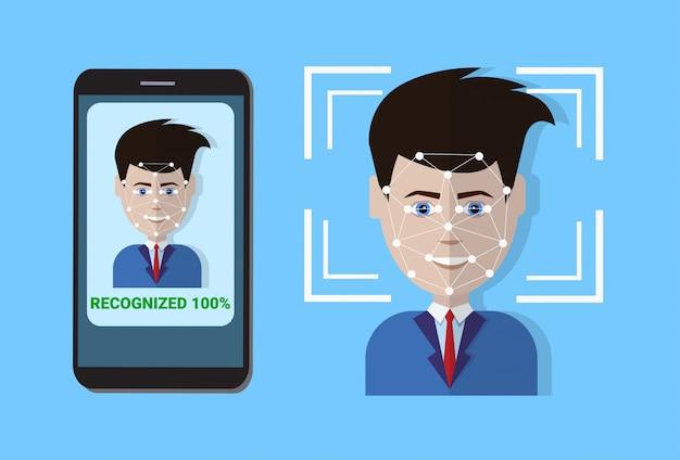 Sistema di scansione biometrico di controllo smart phone di protezione utente faccia, concetto di tecnologia di riconoscimento facciale
