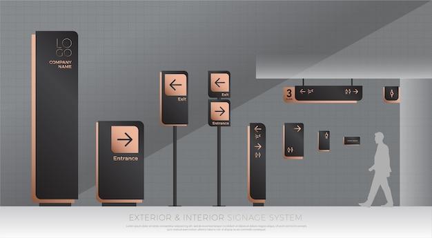 Sistema di segnaletica esterno ed interno. direzione e segnaletica del traffico