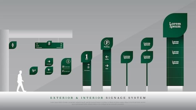 Sistema di segnaletica stradale esterno ed interno