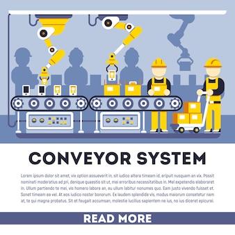 Sistema di trasporto con il concetto piatto di manipolatori. illustrazione della produzione di processo