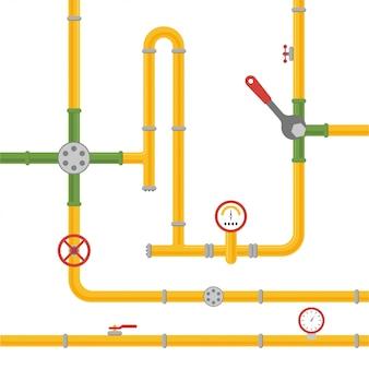 Sistema di tubazioni per l'ammissione di olio, acqua o gas.