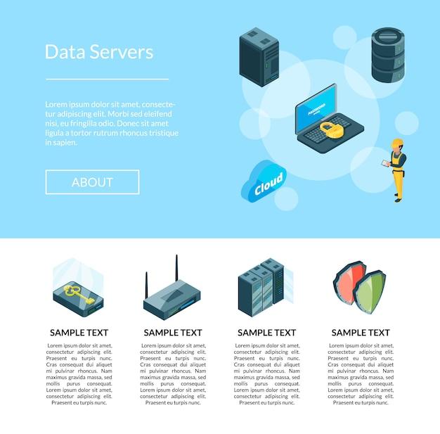 Sistema elettronico della pagina delle icone del data center