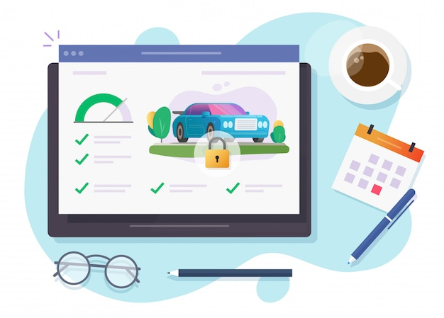 Sistema online di app di blocco di sicurezza di monitoraggio dell'automobile sul dispositivo del computer