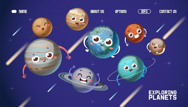 Sistema planetario, esplorando pianeti illustrazione di atterraggio banner. personaggio dei cartoni animati giove, saturno, urano, nettuno.