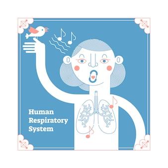 Sistema respiratorio anatomico umano stilizzato