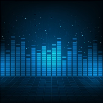 Sistemi audio digitali su sfondo blu.