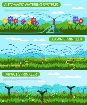 Sistemi di irrigazione automatici orizzontali con banner piatto.