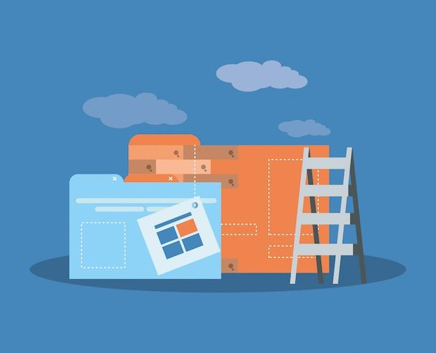 Sito in costruzione con computer desktop