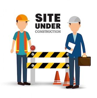 Sito in costruzione poster uomini lavoratore segnale di avvertimento
