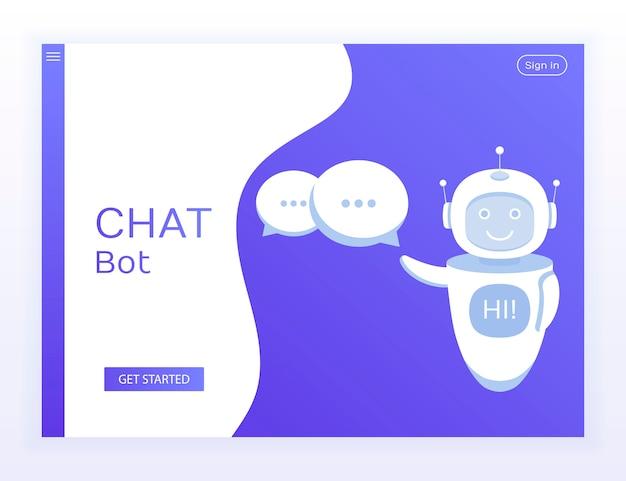 Sito web concept. il bot di chat contiene fumetti e mostra ciao sullo schermo al suo interno.