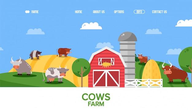 Sito web dell'azienda agricola della mucca, animali della terra coltivabile nel paesaggio di stile piano, personaggi dei cartoni animati del bestiame