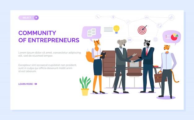 Sito web della comunità degli imprenditori hipster animal