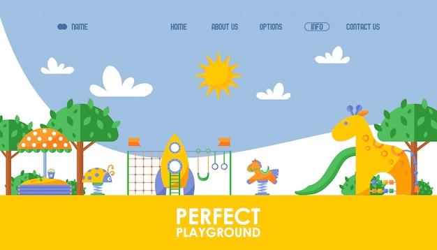 Sito web di giochi per bambini, illustrazione. modello di pagina di destinazione per il progetto di avvio perfetto parco giochi, sfondo in stile piatto. divertenti attrazioni per bambini