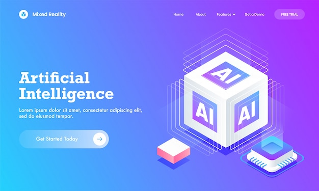 Sito web di intelligenza artificiale o design di landing page con blocco cubo ai 3d e chip per circuito digitale.