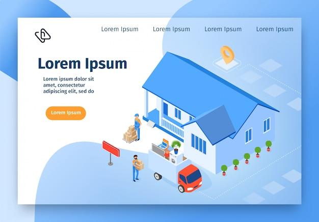 Sito web di vettore isometrico di casa azienda in movimento