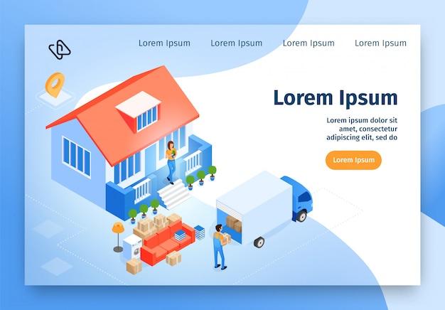Sito web di vettore isometrico di servizio di trasloco domestico