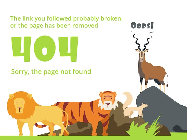 Sito web non trovato con messaggio di avviso e animali