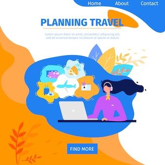Sito web piano di vettore di servizio online di viaggio di progettazione