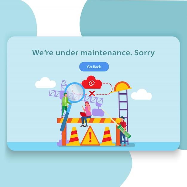 Sito web sotto l'illustrazione della pagina di destinazione di manutenzione