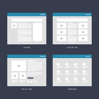 Sito web wireframe layouts kit di interfaccia utente per la mappa del sito e ux design