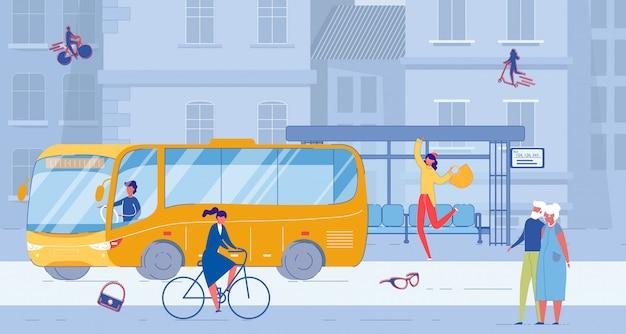 Situazione di vita alla fermata dell'autobus pubblico su city street
