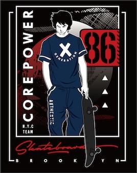 Skateboard brooklyn, disegno dell'illustrazione di tipografia di sport di vettore