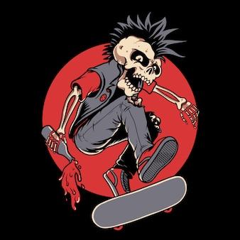 Skateboard punk skull