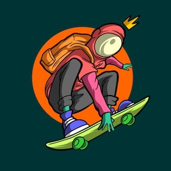 Skateboarder alieno stile disegnato a mano