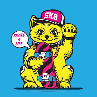 Skateboarder lucky fortune cat