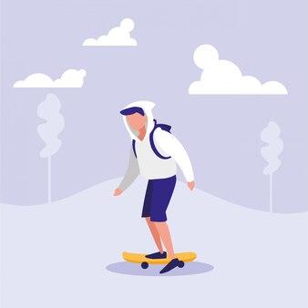 Skateboarding di pratica dell'uomo nel paesaggio