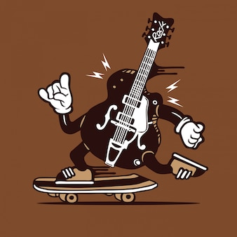 Skater rock and roll guitar skateboard character design