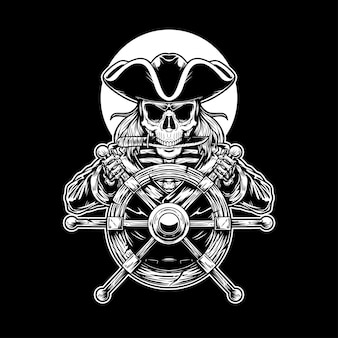 Skeleton captain pirate