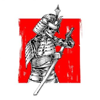 Skeleton samurai warrior