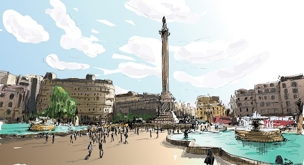 Sketch city scape in london england shop monunent, people walk on public space, illustration