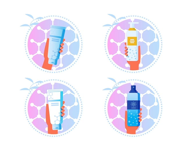 Skincare cosmetics cartoon labels set di adesivi