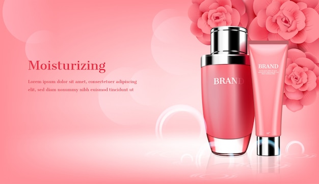 Skincare set con modello di fiori rosa