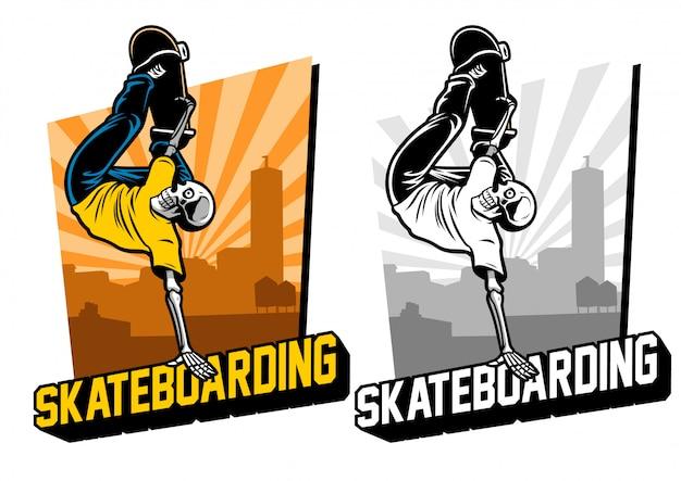 Skul skateboard nel set