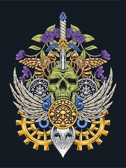 Skull art con gli occhi di gufo steampunk