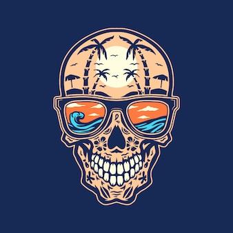 Skull beach, linea disegnata a mano con colori digitali