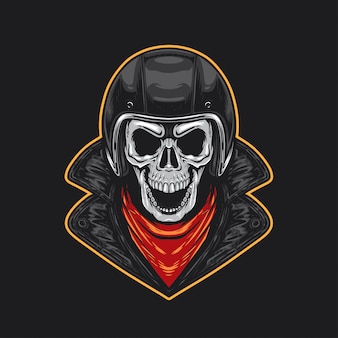 Skull biker con casco