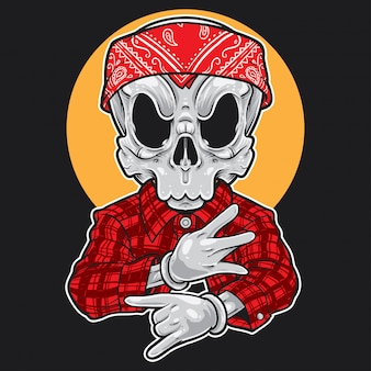 Skull cartoon gangsta