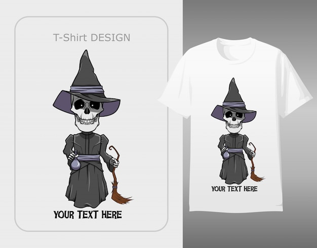Skull character wear witch costume halloween