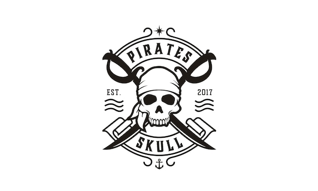 Skull & crossing swords logo dei pirati